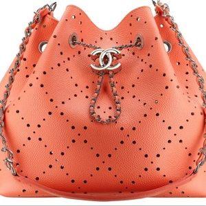 Chanel Caviar Drawstring Perforated Bucket Bag Coral Pink Orange Silver HW